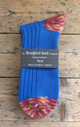 Men's Wool Socks - Blue & Claret and Amber  - Machine Washable.